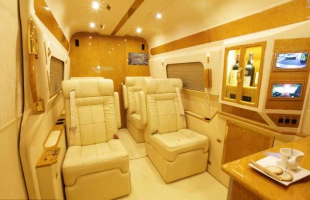 van turned into luxury car